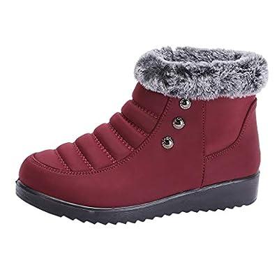 HebeTop Women's Winter Snow Boots Fur Lined Warm Round Toe Ankle Booties Outdoor Waterproof Slip on Sneakers Shoes