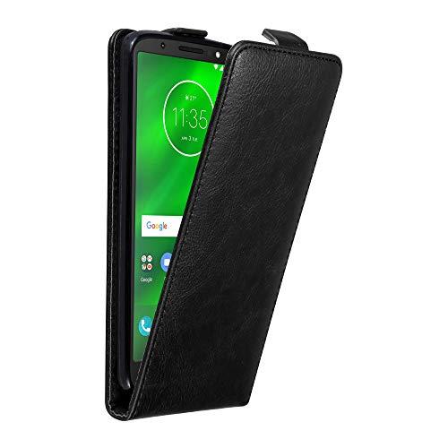 Cadorabo Hülle für Motorola Moto G6 in Nacht SCHWARZ - Handyhülle im Flip Design mit Magnetverschluss - Hülle Cover Schutzhülle Etui Tasche Book Klapp Style