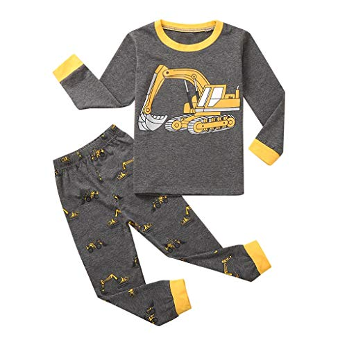 Schlafanzug Für Jungen, Kinder Schlafanzug Lange mit Truck Motiv, Pyjama Langarm...