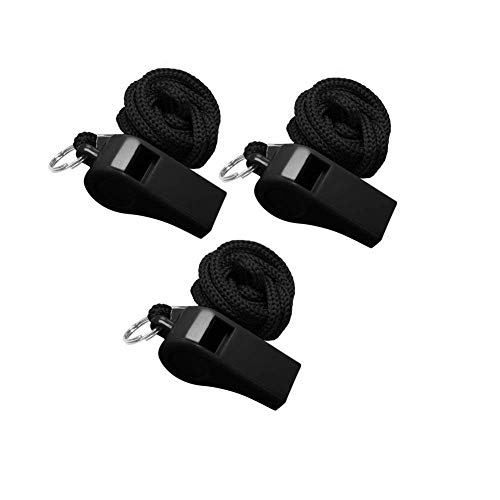 Golvery Coaches Referee Whistle with Lanyard, Black Plastic Whistles for School Sports, Soccer, Football, Basketball and Lifeguard, Survival Emergency Dog Training (Black-3pcs)