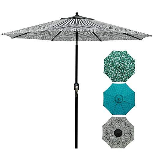 Blissun 9' Patio Umbrella Aluminum Manual Push Button Tilt and Crank Garden Parasol (Black and Beige)