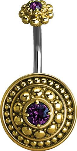 eeddoo® BAUCHNABEL PIERCING-BANABELL aus EDELSTAHL Doppel Kristallstein mit orientalischen Antik Design (AM - Amethyst)