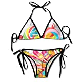 Sistemas de Bikini para Mujer Impresos Flor de Loto del Agua del Cielo, Traje de baño de la Playa del Traje de baño del triángulo