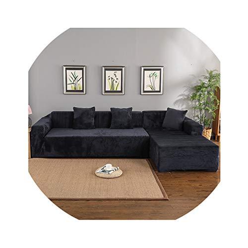 hotmoment-uk Fundas de terciopelo para sofá de esquina, sala de estar, sofá en forma de L, funda elástica para sofá de esquina, color gris oscuro, 3 plazas y 4 plazas