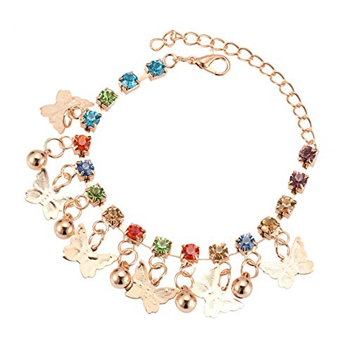 ZSDN Rhinestones Bells Bracelet Simple Bead Butterfly Chain Ankle Chain Anklet Accessories for Daily Wear, Color 1