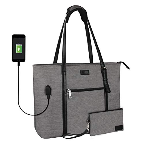 LARGE AND SPACIOUS LAPTOP TOTE: This laptop tote bag is large and spacious. There are two main compartments inside. One section is for laptop, where velcro strap is attached to secure your computer in place. The other compartment can hold almost ever...
