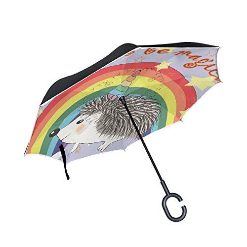 Ahomy Doppelschichtiger umgekehrter Regenschirm, Cartoon-Igel, Einhorn, Regenbogen-Regenschirm für Auto und Außenbereich, mit C-förmigem Griff und Tragetasche