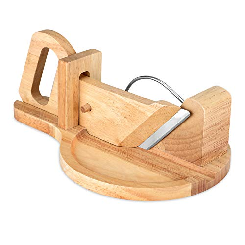 Salami Slicer - Wooden Cutter for Ham, Hard Cheese, Vegetables, and Deli with Locking Peg and Stainless Steel Blade, Charcuterie Slicer for Party, Picnics