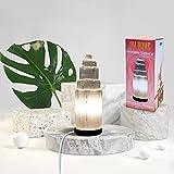 LAMPARA de Sobremesa de SELENITA NATURAL 25CM FORMA TORRE Artesanal [Clase de eficiencia energética A]
