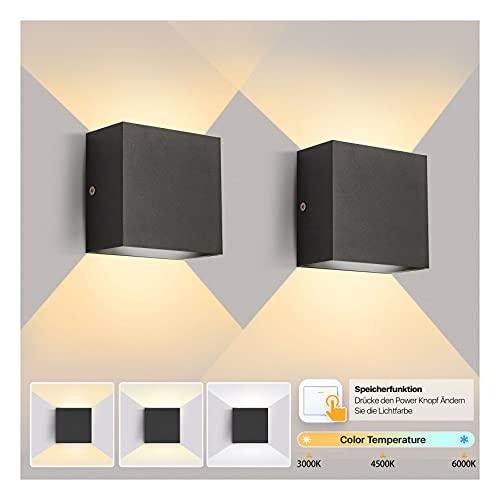 Imoli Led Wandleuchte Innen Modern Schwarz Wandlampe mit 3 Farbtemperaturen(Warmweiss|Kaltweiss|Neutralweiss) 12W Up and Down Leuchten Innen für Schlafzimmer Flur Usw (2 Stücke)