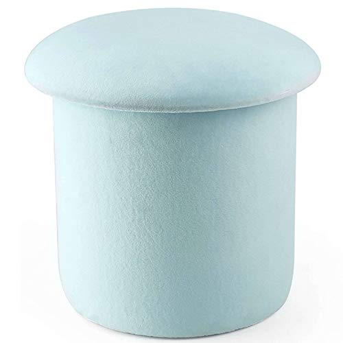 Velvet Ottoman, Round Storage Box Toy Chest Footrest Stool Decorative Space-Saving Footstool Shoe Bench Great for Nursery Kindergarten Living Room-36x36cm(14x14inch)-A