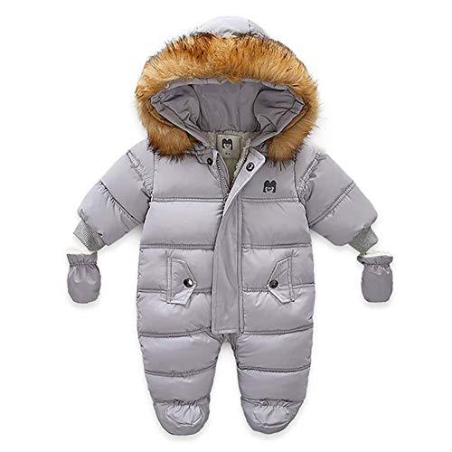 MoccyBabeLee Neugeborene Mädchen Mädchen Jungen Schneeanzug Kapuze Strampler Winter Warme Footies Jumpsuit Daunenjacke Mantel Kleidung (Gray,3-9 Monat)