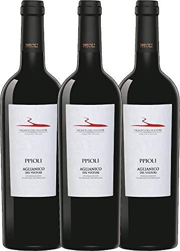 VINELLO 3er Weinpaket Rotwein - Pipoli Aglianico del Vulture DOC 2018 - Vigneti del Vulture mit Weinausgießer | trockener Rotwein | italienischer Rotwein aus Basilikata | 3 x 0,75 Liter