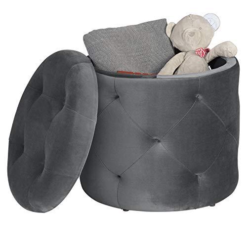 EUGAD Sitzhocker runde Hocker Sitzbank Samt Hocker, Ottomane Aufbewahrungsbox mit Stauraum, ca.27L Sitztruhe Deckel abnehmbar, 39,5x39,5x40cm, Dunkelgrau 0043DZ