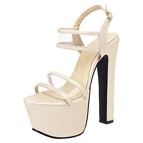 Femany Damen Extrem High Heels Plateau Sandalen mit Blockabsatz und Riemchen Sandaletten Hoher Absatz 16cm Schuhe (Beige,44)