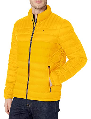 Tommy Hilfiger Men's Insulated Packable Puffer Jacket with Real Down, Yellow Gold, XXX-Large