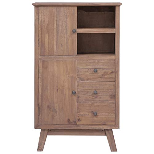 Festnight Highboard Kommode Set Sideboard Mehrzweckschrank Schrank Schubladenkommode Anrichte mit 3 Schubladen, 2 Türen und 2 offenen Ablageflächen 60 x 30 x 100 cm Massivholz Teak