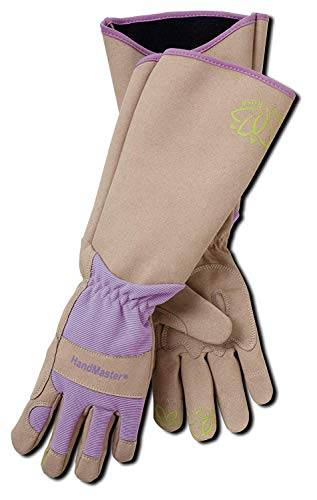 Magid Glove & Safety Professional Rose Pruning Thornproof Gardening Gloves with Extra Long Forearm Protection for Women - Puncture Resistant, 7/Small (6 Pair), Tan & Purple, Model Number: BE195TS-6