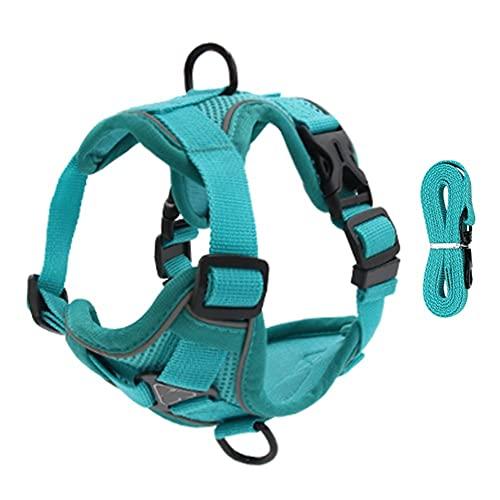 Arnés para perros Pet Reflective Nylon Dog Harness No Pull Adjustable Medium Large Naughty Dog Vest Safety Vehicular Lead Walking Running Arnés para gatos (Color : Green, Size : X-large)