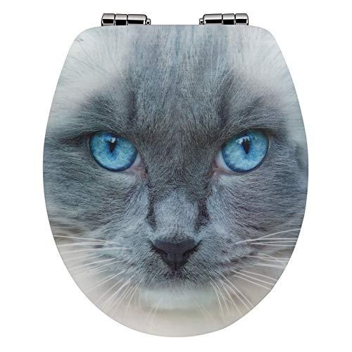 WC-Deckel 3D-Motiv Absenkautomatik Holzkern MDF WC-Sitz - versch. Motive, Muster:Felis (Katze)