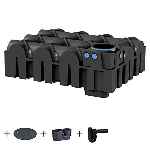 PREMIER TECH AQUA GmbH Zisterne 5000 Liter Standard Flachtank F-LINE mit Deckel, beruhigtem Zulauf und Siphon - Kunststoff, Kunststoffzisterne, Komplettset