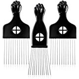 3 Pack Metal Hair Pick - CAREHOOD Wide Tooth Afro Pick for Men, Hair pick for Curly Hair for Women, Lift Pick Comb Tool for Wig Braid Detangle, Hair Styling