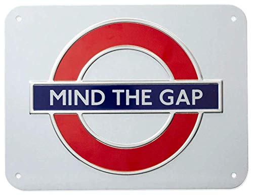 GWC London - Señal de Metro con Texto en inglés Mind The Gap, tamaño Mediano