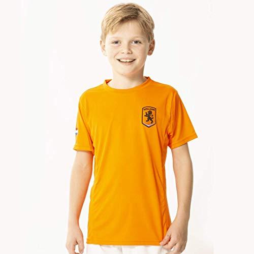 Oranje jongens t-shirt - 100% polyester - Holland shirt - Nederlands elftal - maat 104