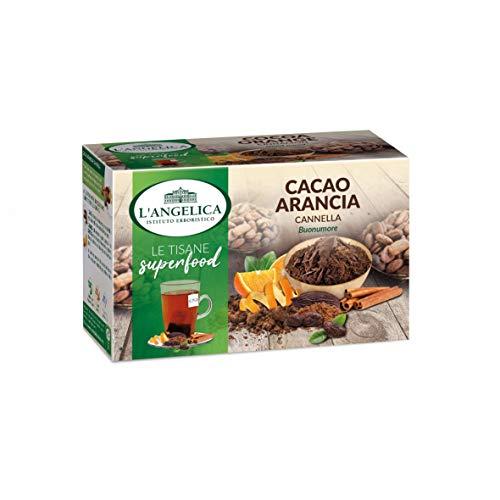 L'Angelica Tisana Superfood Cacao, Arancia e Cannella, a Base di Cacao, Arancia, Cannella e Liquirizia, Tisana Digestiva, 10 Confezioni da 18 Filtri