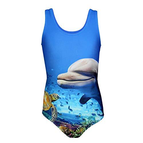 Aquarti Mädchen Badeanzug mit Ringerrücken Print, Farbe: Delphin/Blau/Grün, Größe: 128
