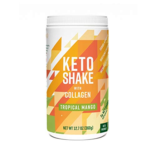 360 Nutrition Keto Protein Powder - Keto Shake Mango Flavor 12.7 oz - Grass Fed Collagen Peptides, MCT Oil, Low Carb Meal Replacement