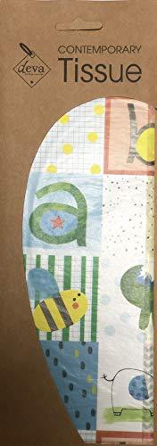 Patchwork Blauw Baby Gedrukt Gedessineerd Weefsel Inpakpapier Deva Ontwerpen Luxe 4 Vellen 50 x 70 cm