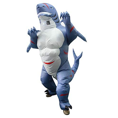 Erwachsene Hai Aufblasbares Kostüm Tier Blow Up Muskel Hai Kostüm für Fasching Halloween Cosplay Party Weihnachten Blau