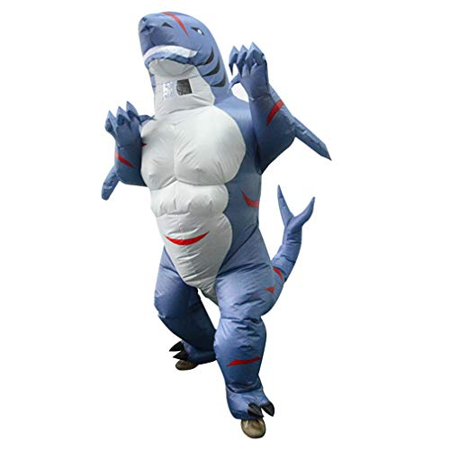 Adult Shark Inflatable Costume Animal Blow Up Muscle Shark Costume for Fancy Dress Halloween Cosplay Party Christmas Blue