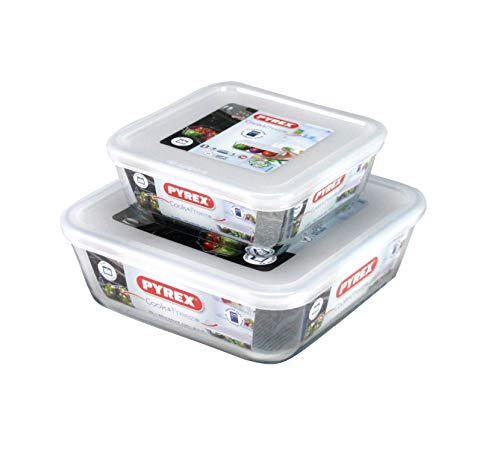 Pyrex 2 Piece Cook & Freeze Square Glass Dishes With Lids 0.85L/2L High Resistance Glass Freezer To Oven Dishes Square Casserole Serving Baking Cooking Storage Dishes