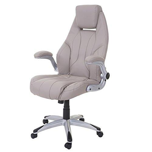 Mendler Bürostuhl HWC-A65, Schreibtischstuhl Chefsessel Drehstuhl, Kunstleder ~ Taupe