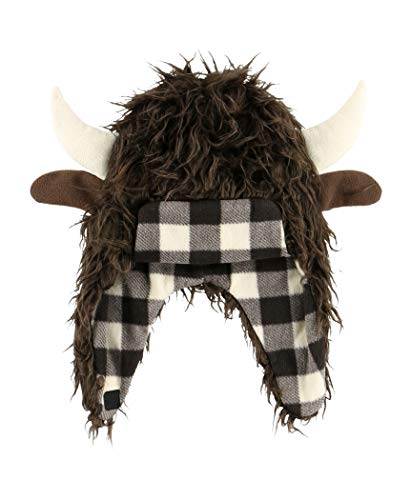 LazyOne Critter Cap Hat for Kids, Fun, Cold-Weather, Animal Hats, Cute, Warm, Winter, Cozy, Ear covers, Costume (Buffalo, SMALL)
