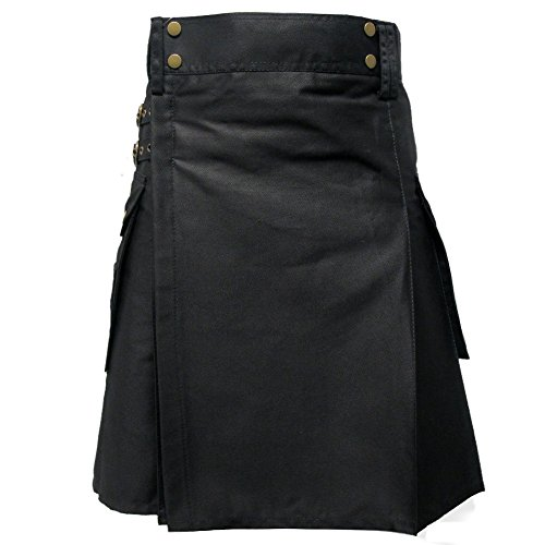 Tartanista Mens Tactical Combat Utility Kilt con Bolsillos Negro 36 UK