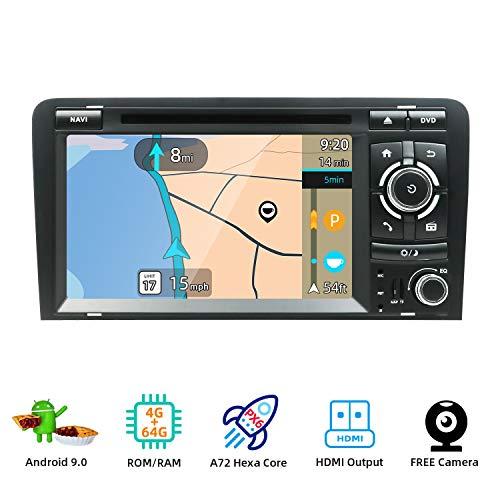 YUNTX Android 10 Autoradio Radio Kompatibel mit Audi A3 (2003-2011) - 4G | 64G - KOSTENLOSE Rückenkamera - Unterstützt GPS/DVD/DAB+ / Lenkradsteuerung/WiFi/Bluetooth/Carplay/Android Auto