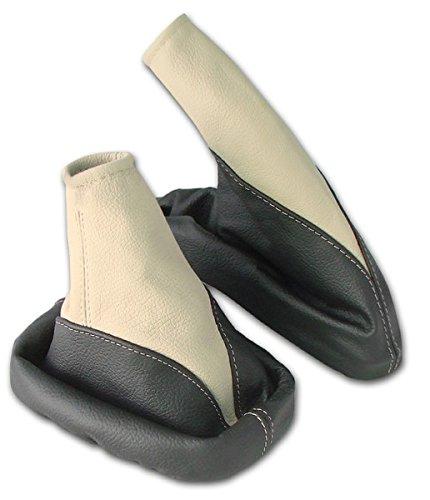 L&P A106-4 Set Schaltsack Schaltmanschette + Handbremsmanschette 100% Echtleder Leder Schwarz - Beige Ersatzteil für Opel Vectra B