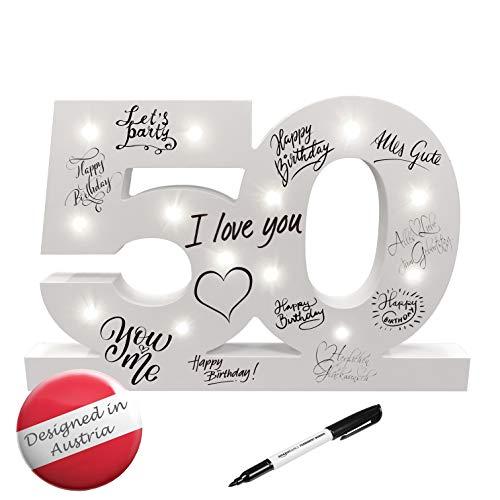 CREOFANT ® XL Gästebuch 50 Geburtstag Deko mit LED Beleuchtung 37 cm x 24 cm · Tischdeko...
