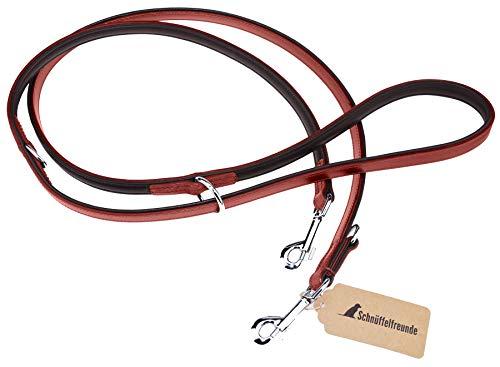 Schnüffelfreunde Hundeleine aus Leder - Trainingsleine - Lederleine für den Hund - Leine 3-Fach verstellbar, für alle Hunde (230cm, Rot)