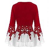 Bilbull Blusa de manga larga para mujer, con cuello en V, patchwork, elegante, ajustada, para Halloween, con mangas acampanadas y ribete de encaje, rojo, XXXXL
