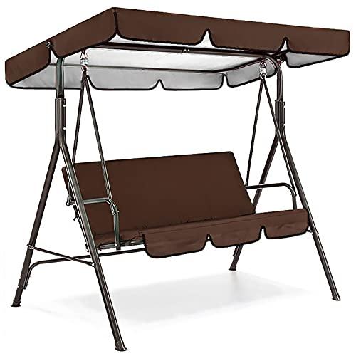 Schaukel Überdachung + Schaukel-Kissenbezug, Wasserdichter Terrassenschaukelset Schutzbezug, 2 oder 3 Sitzer Veranda Schaukelkissen Stuhlschutz,coffee-142X120X18cm