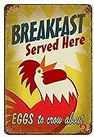 新しいレトロな金属朝食提供ヴィンテージ絶妙な高品質のレトロな壁の装飾ガレージバールーム地下倉庫ロフト収納ルームトイレ室内装飾錫ペイント 12x8 インチ