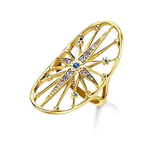 THOMAS SABO Damen Ring Royalty Stern Gold 925er Sterlingsilber; 750er Gelbgold Vergoldung TR2223-959-7
