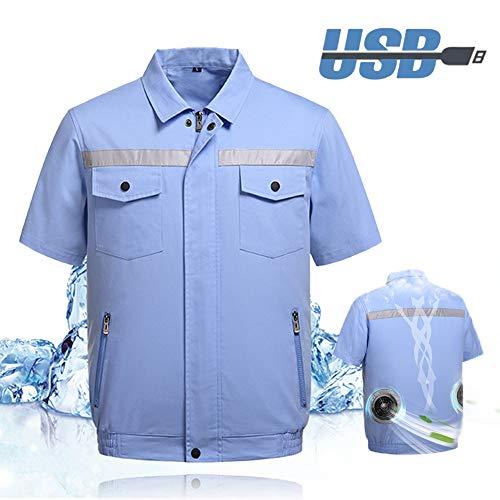 BLLJQ Sommer Arbeitskleidung Mantel Halbarm, Klimatisierte Kleidung mit Lüfter, Wiederaufladbarer USB Lüfter für die Persönliche Klimaanlage für Hochtemperaturarbeiter,Half Sleeve,XXL