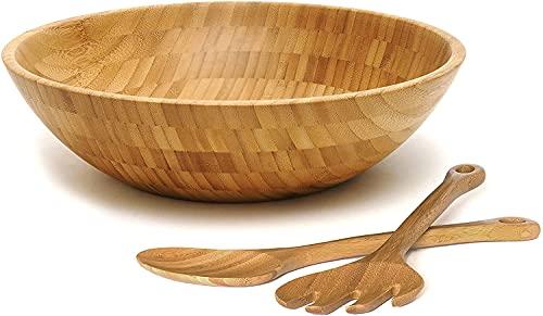 Lipper International Bamboo Wood Salad Bowl with 2...