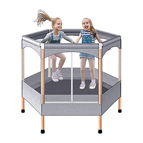 Trampolín Infantil Hexagonal de 50 Pulgadas con Cubierta de Seguridad Trampolín de Seguridad y Duradero para Interior/Exterior de Cuerda elástica(Gris)