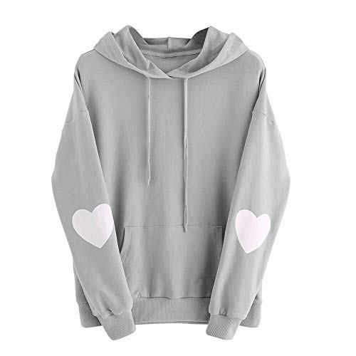 Xmiral Damen Sweatshirt Plus Size Langarm Solide Herz Hoodie Frauen Polyester Plain Jumper Pullover Tops Bluse (L,Grau)